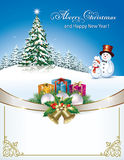 Merry Christmas and a Happy New Year with a Christmas tree. And a snowman with a gift box Stock Photo