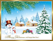 Merry Christmas and a Happy New Year with Christmas tree and snowman. Merry Christmas and a Happy New Year with a Christmas tree and a snowman with a gift box on Royalty Free Stock Image