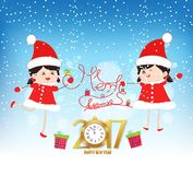 Merry christmas and happy new year 2017 with clock and funny kids.  Royalty Free Stock Photography