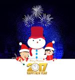 Merry christmas and happy new year 2017 with clock and funny kids.  Royalty Free Stock Image