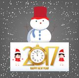 Merry Christmas and Happy New Year 2017 clock greeting card.  Royalty Free Stock Image