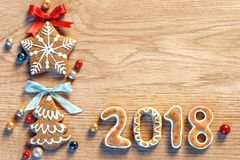 Merry Christmas and Happy New Year 2018! Stock Photos