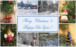 Merry Christmas & Happy New Year. Collage of image. Greeting card. Winter and Christmas image Stock Image