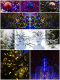 Merry Christmas and Happy New Year!. Collage of a snowmen, natural spruce trees, illuminated fountain, decoration balls covered with snow. Merry Christmas and Royalty Free Stock Image