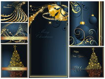 Merry Christmas and Happy New Year collection. Gold and blue Stock Photo