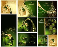 Merry Christmas and Happy New Year collection. Gold and green Stock Images