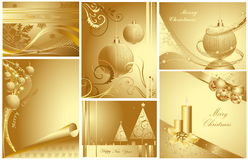 Merry Christmas and Happy New Year collection. Merry Christmas and Happy New Year gold collection vector illustration