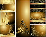 Merry Christmas and Happy New Year collection. Merry Christmas and Happy New Year gold collection stock illustration