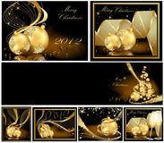 Merry Christmas and Happy New Year collection. Gold Merry Christmas and Happy New Year collection Stock Images
