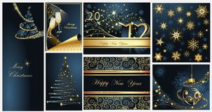 Merry Christmas and Happy New Year collection. Gold and blue vector illustration