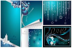 Merry Christmas and Happy New Year collection. Silver and blue Royalty Free Stock Image