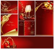 Merry Christmas and Happy New Year collection. Gold and red Royalty Free Stock Photography
