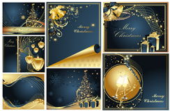 Merry Christmas and Happy New Year collection. Gold and blue Royalty Free Stock Images