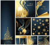 Merry Christmas and Happy New Year collection. Gold and blue Royalty Free Stock Photos