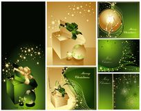 Merry Christmas and Happy New Year collection. Gold and green Stock Photo