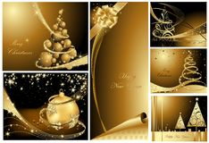 Merry Christmas and Happy New Year collection Stock Images