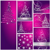 Merry Christmas and Happy New Year collection. Silver and violet vector illustration