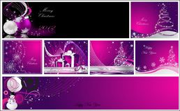 Merry Christmas and Happy New Year collection. Silver and violet Stock Photo