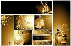 Merry Christmas and Happy New Year collection. Gold Merry Christmas and Happy New Year collection Stock Photos
