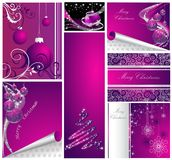 Merry Christmas and Happy New Year collection. Silver and violet royalty free illustration