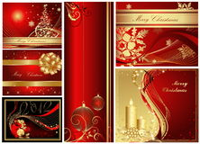 Merry Christmas and Happy New Year collection. Gold and red Stock Photography