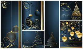 Merry Christmas and Happy New Year collection. Gold and blue Royalty Free Stock Photography