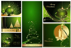 Merry Christmas and Happy New Year collection. Gold and green stock illustration