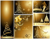 Merry Christmas and Happy New Year collection. Gold Merry Christmas and Happy New Year collection vector illustration