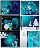 Merry Christmas and Happy New Year collection. Silver and blue Royalty Free Stock Photography
