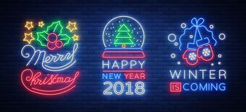 Merry Christmas and Happy New Year 2018 collection. Of neon signs. Set neon characters for your Christmas projects, greeting cards, flyers, banners. Bright stock illustration