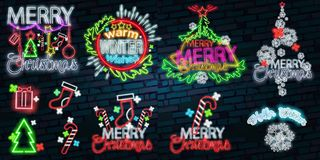 Merry Christmas and Happy New Year 2018 collection of neon signs. Set neon characters for your Christmas projects. Greeting cards, flyers, banners. Bright stock illustration