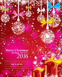 Merry Christmas and Happy New Year 2016. With the color full snow on the red background. Merry Christmas and Happy New Year 2016. With the color full snow and stock illustration