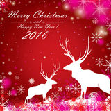 Merry Christmas and Happy New Year 2016. With the color full snow and the white reindeer on the blue background. Merry Christmas and Happy New Year 2016. With Stock Image