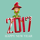 Merry christmas and Happy New Year colorful card design, vector illustration. Merry christmas colorful card design, Santa Claus elf helper 2017. Happy New Year Royalty Free Illustration
