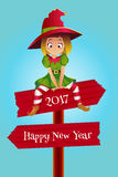 Merry christmas and Happy New Year colorful card design, vector illustration. Merry christmas colorful card design, Santa Claus elf helper sitting on the wooden Stock Image