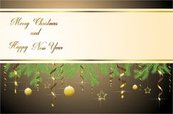 Merry Christmas and happy new year greetings. Merry Christmas and happy new year colorful gold serpentine beads stars and branches Royalty Free Stock Photos