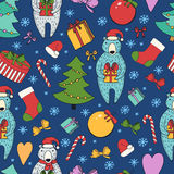 Merry Christmas and Happy New Year colorful seamless background. Royalty Free Stock Image