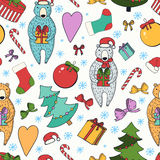 Merry Christmas and Happy New Year colorful seamless background. Royalty Free Stock Images