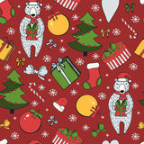 Merry Christmas and Happy New Year colorful seamless background. Royalty Free Stock Photography