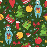 Merry Christmas and Happy New Year colorful seamless background. Stock Photo