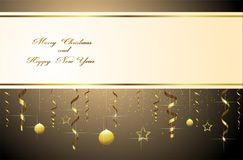 Merry Christmas and happy new year greetings. Merry Christmas and a happy new year colorful streamers of gold star beads and branches for greeting cards Stock Images