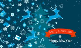 Merry Christmas and Happy New Year concept banner, flat style royalty free illustration