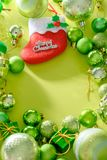 Merry christmas and happy new year concept with Celebration ball. S green color other decoration royalty free stock photo