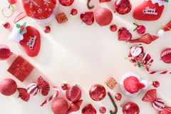 Merry christmas and happy new year concept with Celebration ball. S red color other decoration royalty free stock images