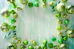 Merry christmas and happy new year concept with Celebration ball. S green color other decoration stock photo