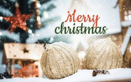Merry Christmas and happy new year concept, Closeup Christmasball with bokeh, Xmas holiday background