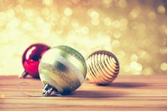Merry christmas and happy new year concept with gold color other. Decoration stock images