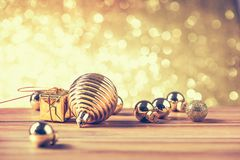Merry christmas and happy new year concept with gold color other. Decoration stock image