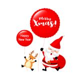Santa Claus and reindeer holding balloon. Royalty Free Stock Photos