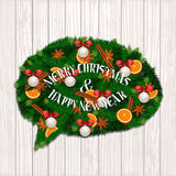 Merry Christmas and Happy New Year Concept. Modern evergreen wreath in form of speak cloud of Xmas tree branches, orange, cinnamon and anise spices, cookies on vector illustration